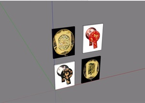四组装饰画素材设计SU(草图大师)模型
