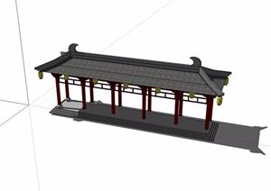 古典建筑长廊素材设计SU(草图大师)模型