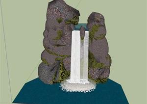 景观假山鱼池的SU(草图大师)模型,版本较低