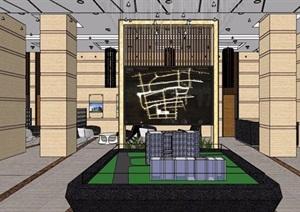 现代风格售楼部大堂装修设计SU(草图大师)模型
