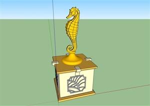 海马雕塑素材设计SU(草图大师)模型