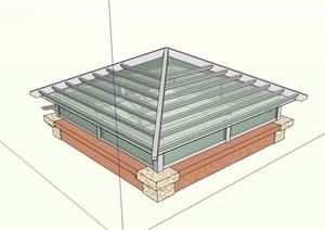 详细的玻璃采光井素材设计SU(草图大师)模型