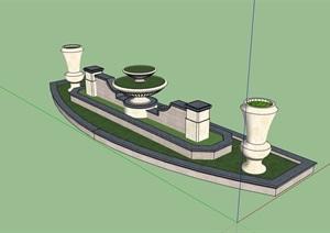 欧式详细的住宅池素材设计SU(草图大师)模型
