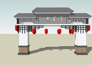 新中式门楼设计SU(草图大师)模型