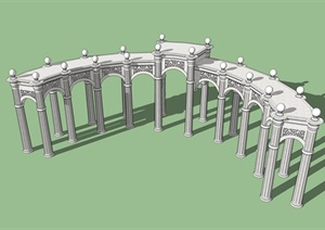 欧式弧形廊架精细SU(草图大师)模型