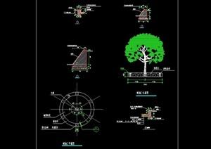 圆形经典详细的树池设计cad施工图