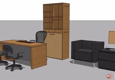 现代风格办公室办公桌椅书桌椅su模型
