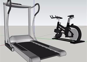跑步机健身器材SU(草图大师)模型素材