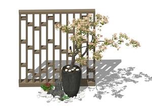 新中式景观小品 隔断  屏风 石头 乱世 多肉 花瓶 植物组合SU(草图大师)模型