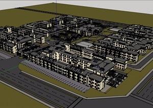 泰式风格养老院建筑设计SU(草图大师)模型