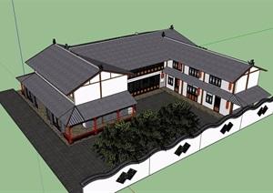 两层详细的完整农家乐建筑设计SU(草图大师)模型