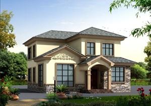 2F农村自建简欧风格别墅建筑结构水电施工图全套带效果图