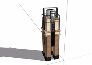 新古典风格详细景观柱素材设计SU(草图大师)模型