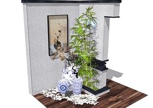新中式景观小品 青花瓷 竹子 枯枝 鹅卵石 景墙SU(草图大师)模型