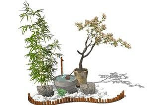 景观小品 庭院景观 水景 石头 植物 鹅卵石 组合SU(草图大师)模型