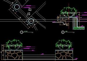台阶处花钵柱设计图纸