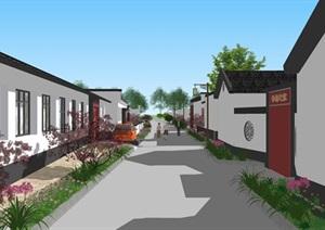 北方村庄美丽乡村改造街巷景观绿化SU(草图大师)模型