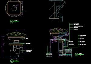 景观花钵柱设计图纸素材