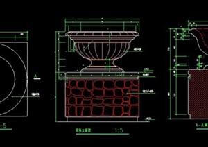 花钵柱单体节点图纸