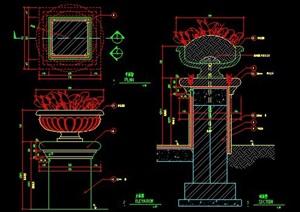 欧式花钵柱设计图纸素材