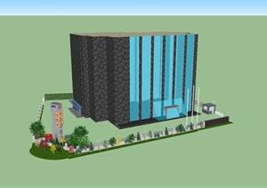 办公楼大院的景观绿化设计SU(草图大师)素材