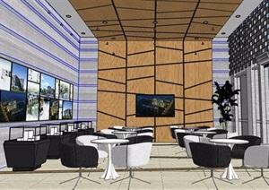 现代风格售楼处大厅整体室内设计SU(草图大师)模型