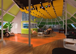 现代风格健身房室内设计效果图