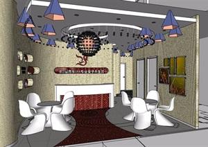 现代风格养生会所一楼大堂室内设计SU(草图大师)模型