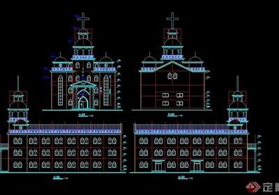 某三层教堂建筑设计cad方案