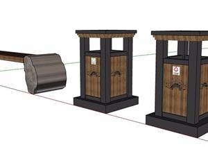 中式风格垃圾桶及坐凳SU(草图大师)模型