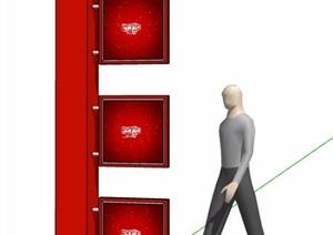 现代简约红色标志牌SU(草图大师)模型