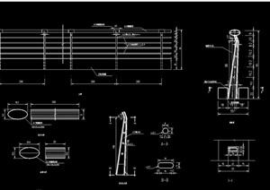 园林景观详细的钢结构栏杆设计cad施工图