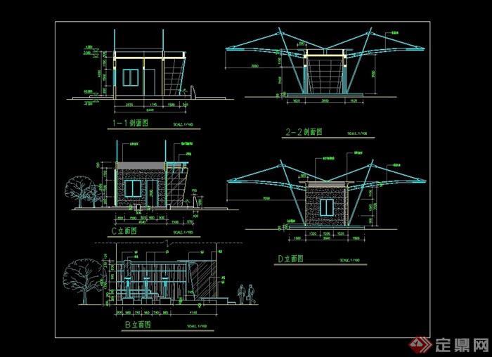 小区景观钢结构大门设计cad图