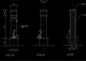 园林景观灯柱设计cad立剖面图