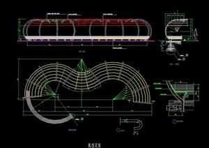 园林景观详细的弧形花架cad施工图