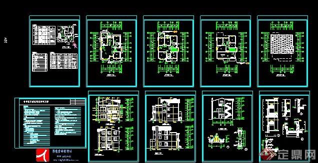 现代三层乡村别墅建筑设计图纸