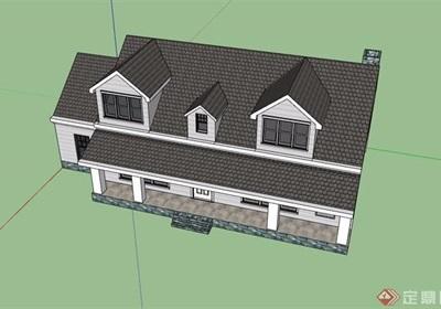两层欧式民居住宅楼设计su模型
