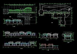 现代中式亭廊素材cad方案图