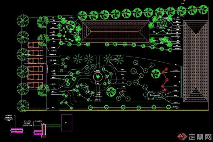 某详细的庭院园林设计cad平面图图片