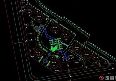 简单的住宅小区cad平面图布置图