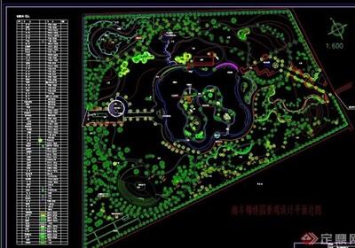 某详细的公园景观设计cad平面总图