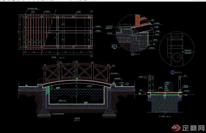 详细的景观木桥素材cad施工图