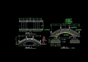 古典中式详细的拱桥素材cad施工图