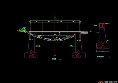 简单过河桥设计cad施工图