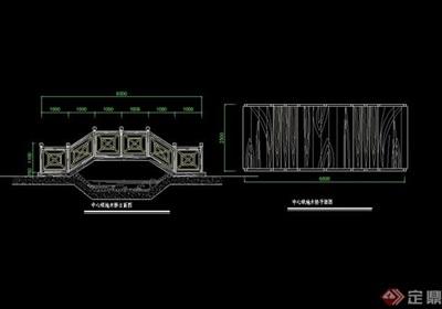 详细的完整中式拱桥素材cad施工图