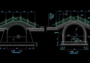 古典中式风格详细的景观桥cad施工图