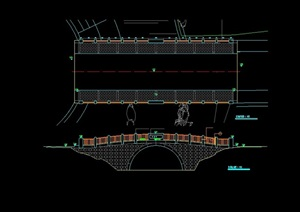 中式过河桥素材cad方案
