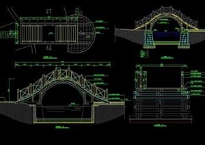 中式详细的精致过河景观桥设计cad施工图