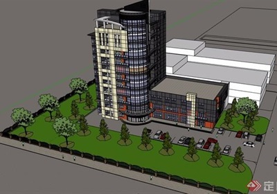小高层办公楼详细建筑设计su模型