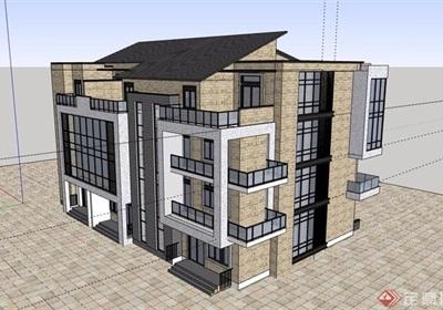 总部基地办公多层建筑楼设计su模型